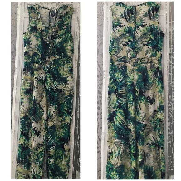 a9914809ac Green   White Palm Leaf Print Jumpsuit NWT